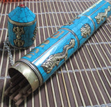 Turquoise inlay metal Incense Holder Tube - Eyescape Designs