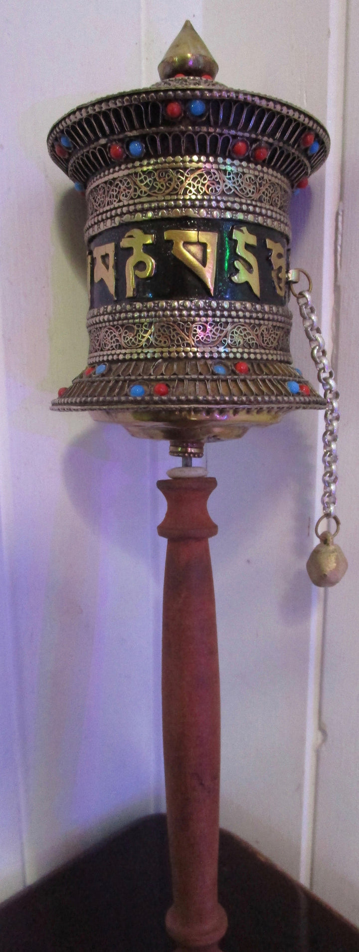 metal handcrafted Tibetan hand held prayer wheel w/ om mani padme hum