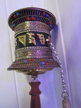 metal handcrafted prayer wheel ~ om mani padme hum ~