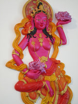 "Buddhist offering goddess ""backless"" style (pink/red) - sculpted wall decor"