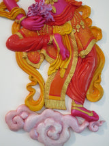"Tibetan Offering Goddess 3d wall art ~ ""Free Floating"" style (pink/red) - Eyescape Designs"