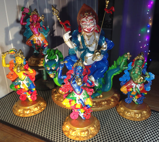 White Dzambala & his 4 Dakinis statue set for water offerings - Eyescape Designs