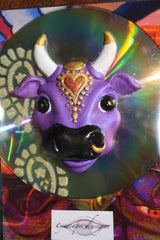 Karma Cow ~ divine bovine fridge magnet ~ purple