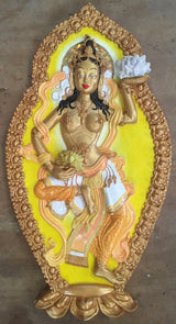 tibetan goddess 3d wall plaque yellow & gold