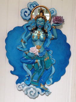 Tibetan Goddess,  Buddhist, blue sculpted cloud wall decor Offering goddess