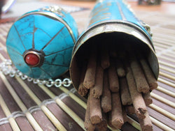 Turquoise Inlay Metal Incense Holder ~ Tube