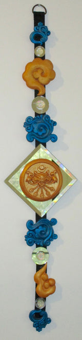 wall art, feng shui, 3d decor, hanging blue & gold sculpted wall decor with round mirrors and diamond mirror centre