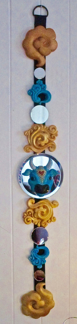 Karma cow blue & gold sculpted wall decor - feng shui art