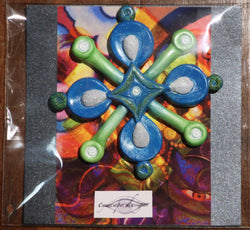 blue & green funky fridge magnet ~ hix bogan