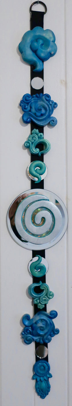 feng shui hanging~white blue swirl & cloud sculpted vertical wall art