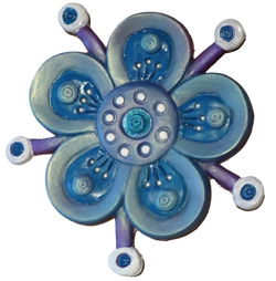 turquoise blue flower fridge magnet