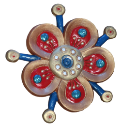 gold, red and blue funky flower fridge magnet