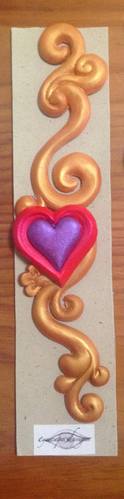 gold swirl ~ hot pink & purple love heart 3d fridge magnet