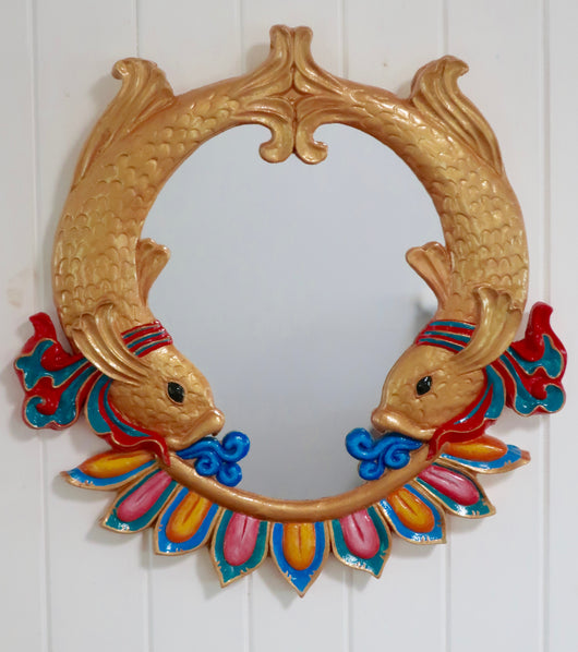 Auspicious Fishes Mirror ~ gold and rainbow
