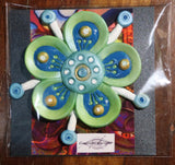 Green & white sculpted funky flower fridge magnet