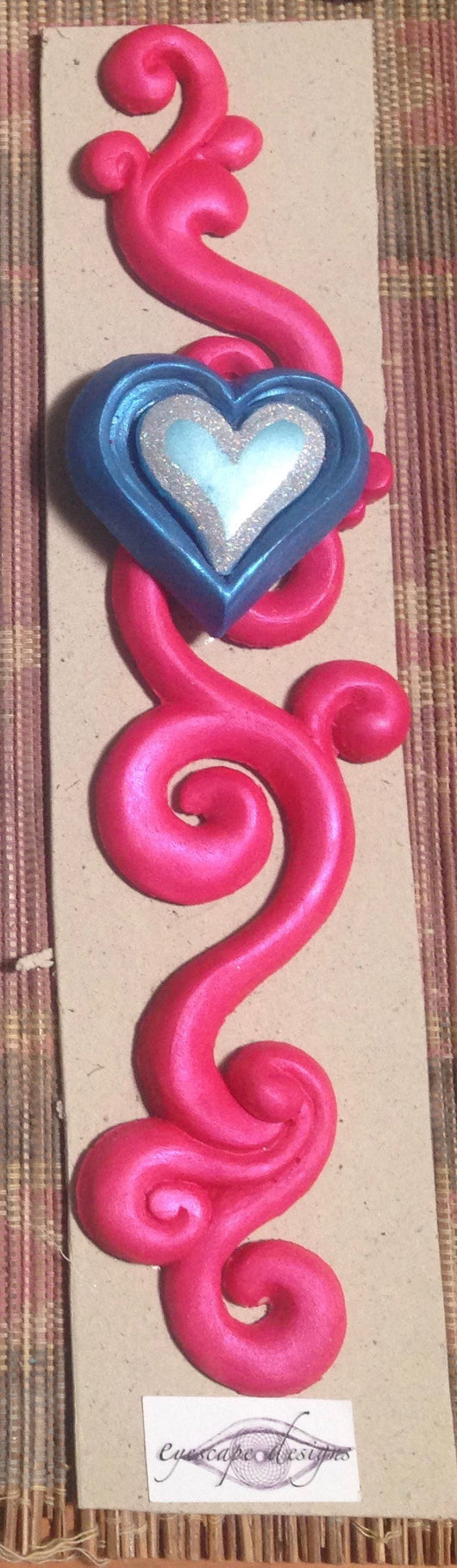 hot pink 3d swirl with blue & silver love heart fridge magnet