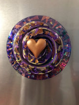 Fridge Magnet ~ Love heart Disco Swirl ~ gold/purp