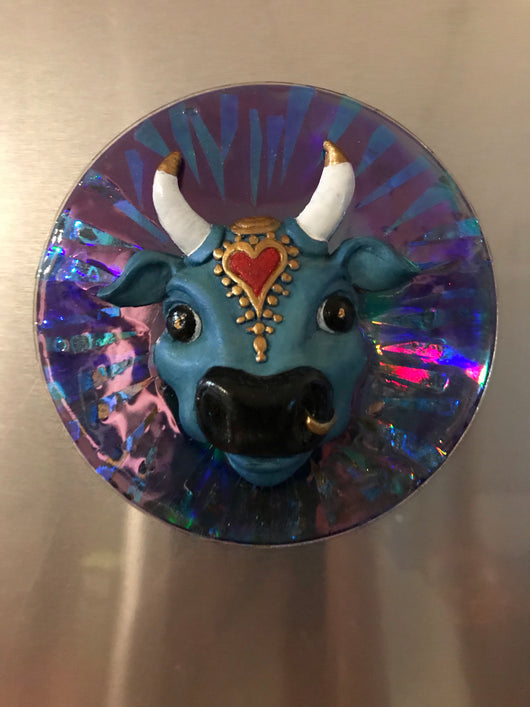 Fridge Magnet ~ Disco Karma Cow ~ blue/purp