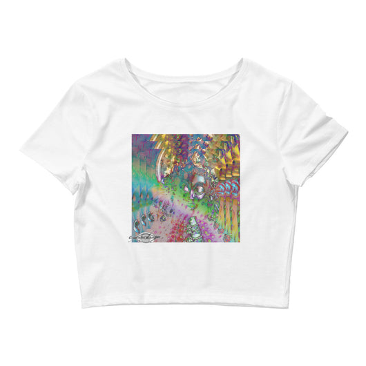 Women's Crop Tee ~ Rainbow Goddess Psychedelia