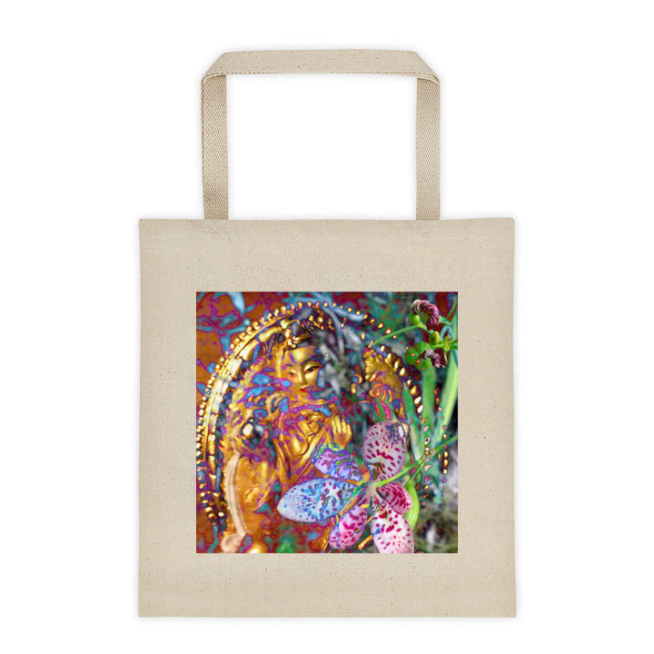 cotton canvas tote ~ goddess art print ~ square bottom