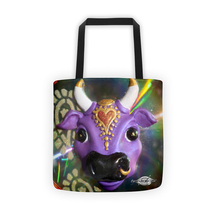 Purple Cow tote all over print