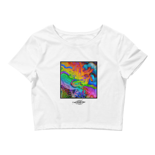 Women's Crop Tee ~ Rainbow Dragon Art Print