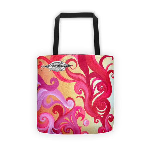 swirly design tote bag all over print with black handles