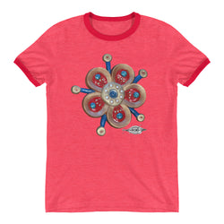 Ringer T-Shirt ~ Gold and Red Flower power
