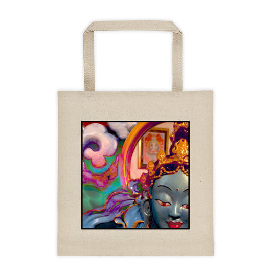 cotton canvas tote bag with blue goddess buddhist art print