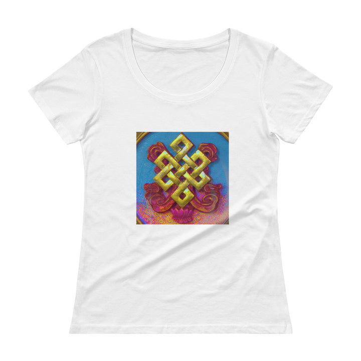Ladies 100% cotton white tee w/ colourful auspicious knot art print