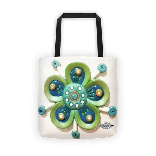 funky green flower tote bag