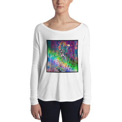 Ladies' Long Sleeve Flow Tee ~ Psychedelic Rainbow Goddess Design