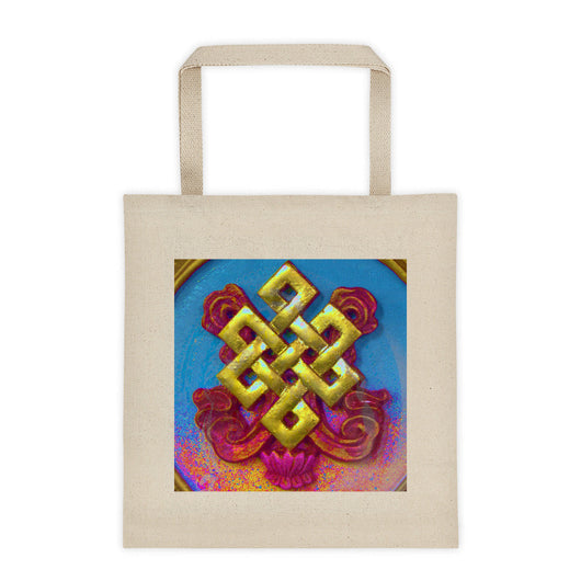 cotton canvas tote with buddhist endless knot colour art print