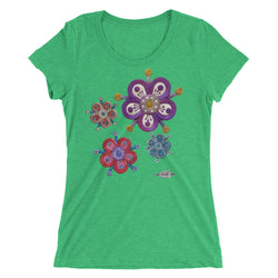 Ladies' short sleeve t-shirt ~ flower patch design