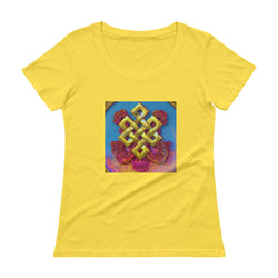 Ladies 100% cotton yellow tee w/ colourful auspicious knot art print