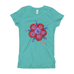 girls mint t-shirt with funky red flower print