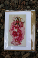 Pink Cloudland Goddess greeting card ~ magnet front ~ Buddhist design