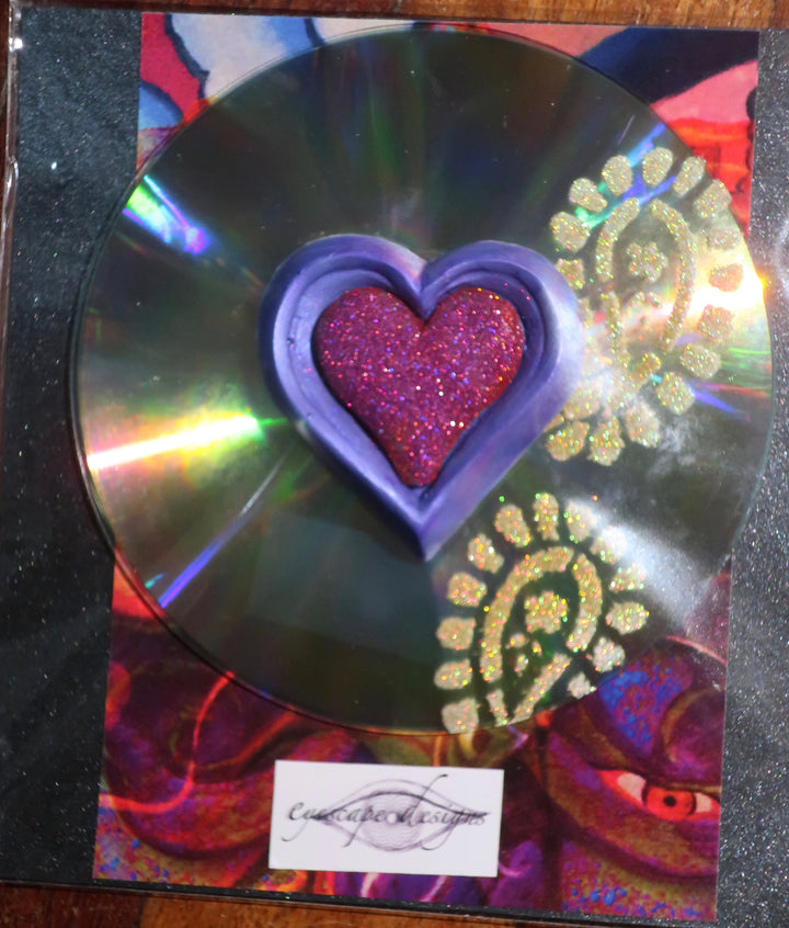 love heart pink & purple on CD with gold glitter