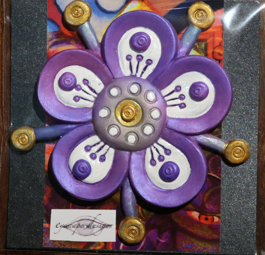 purple flower sculpted fridge magnet