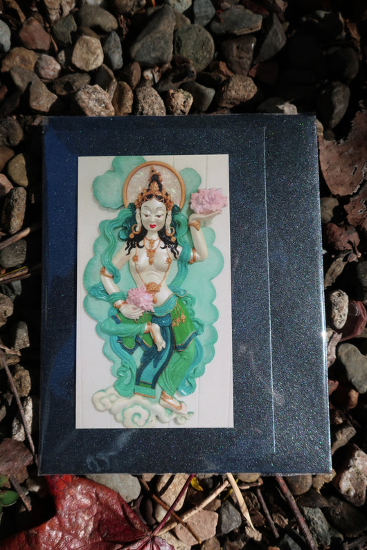 goddess blank greeting card with magnet front ~ green
