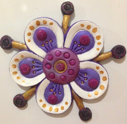 White & Purple Funky Flower Fridge Magnet