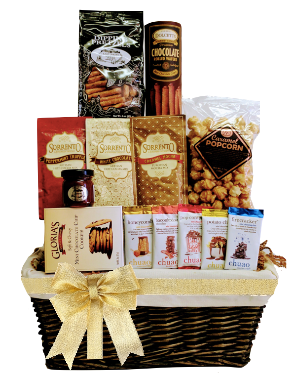 Rustic Cloth Lined Gift Basket - Add Any Bottle - Wine Globe