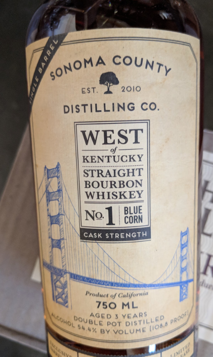 cd7281be090 Sonoma County West of Kentucky No. 1 Blue Corn Cask Strength Bourbon ...