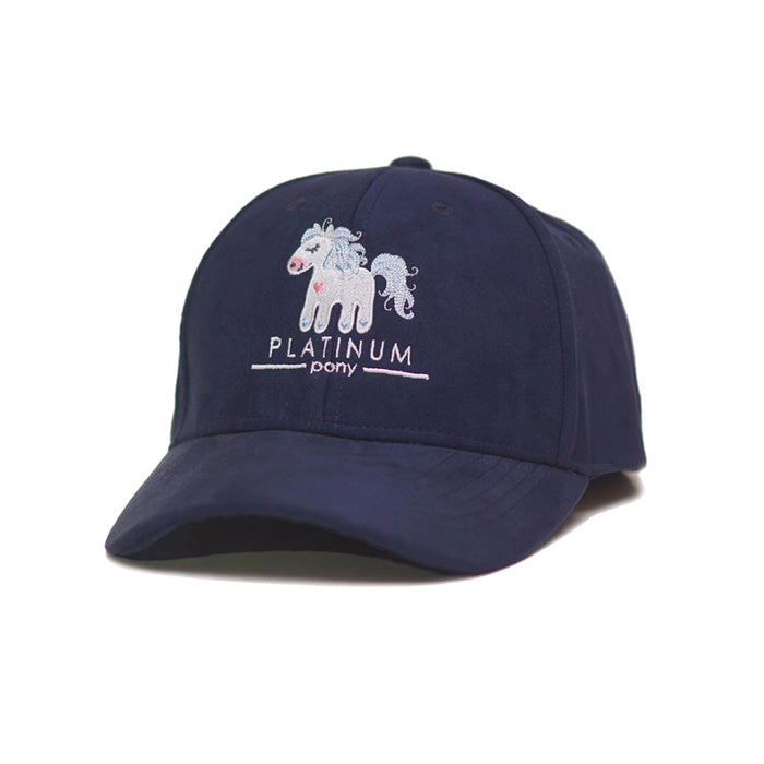 Platinum Pony Embroidered French Navy Cap