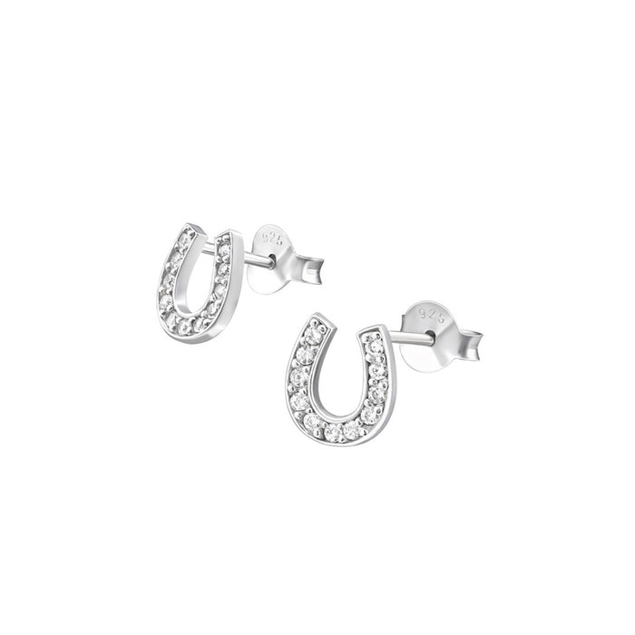 Zirconia Horseshoe Earrings - .925 Sterling Silver