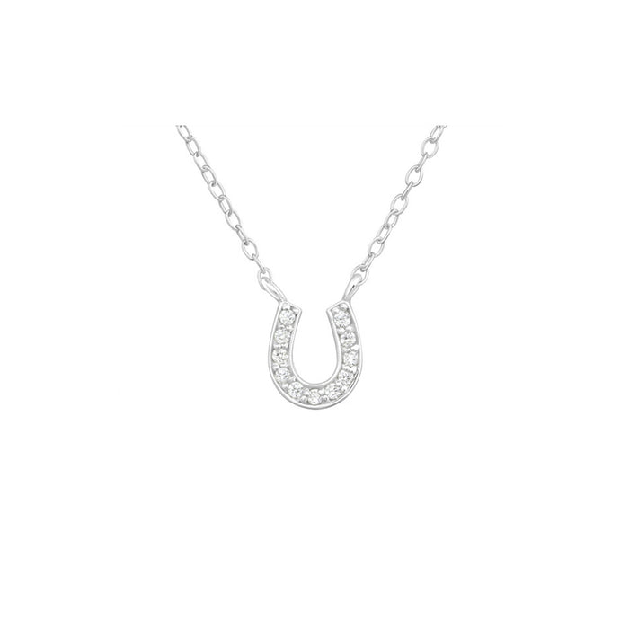 Zirconia Horseshoe Necklace - .925 Sterling Silver