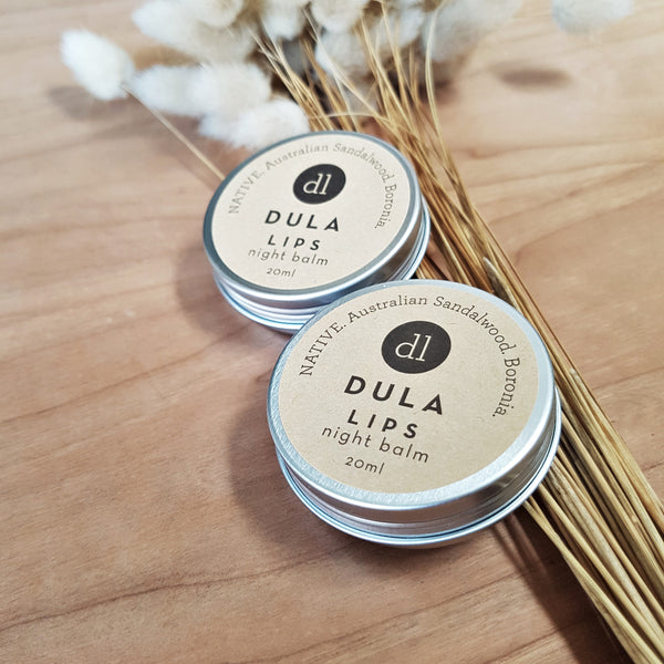 night balm DULA, thick lip balm for sleeping, vegan skincare, natural skincare, organic clean Australian made beauty product