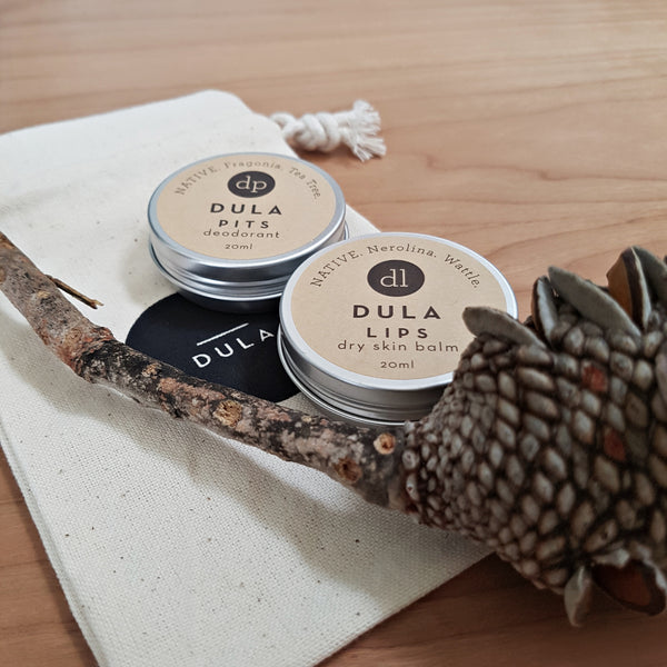 essential set DULA, lip balm and deodorant duo, vegan skincare, natural skincare, organic clean Australian made beauty product