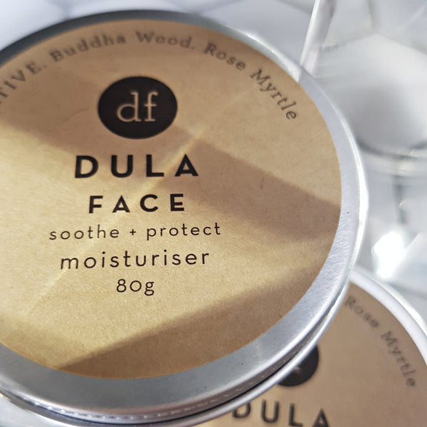 moisturiser DULA, soothe and protect face cream, vegan skincare, natural skincare, organic clean Australian made beauty product