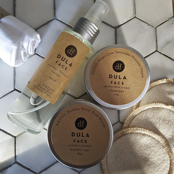 face set DULA, cleanser toner moisturiser, vegan skincare, natural skincare, organic clean Australian made beauty product